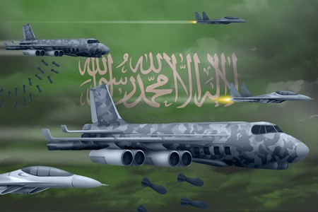 Saudi Arabia bomb air strike concept. Modern Saudi Arabia war airplanes bombing on flag background. 3d Illustration