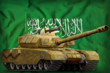 heavy tank with desert camouflage on the Saudi Arabia flag background. 3d Illustration