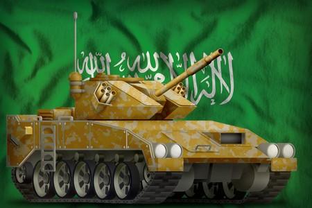 light tank apc with desert camouflage on the Saudi Arabia flag background. 3d Illustration