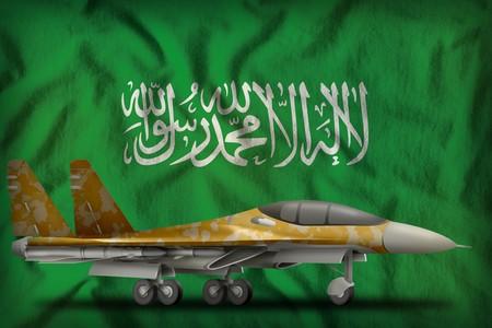 fighter, interceptor with desert camouflage on the Saudi Arabia flag background. 3d Illustration