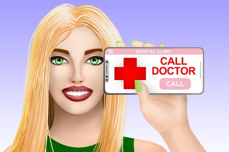 Concept call doctor, ask for medical assistance. Smiling nice drawn girl on colored background. Digital illustration