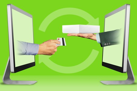 e-commerce concept, hands from displays. hand with credit card and hand with white tablet computer box . 3d illustration