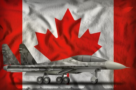 fighter, interceptor with city camouflage on the Canada flag background. 3d Illustration