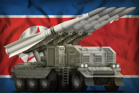 tactical short range ballistic missile with city camouflage on the Democratic Peoples Republic of Korea (North Korea) flag background. 3d Illustration