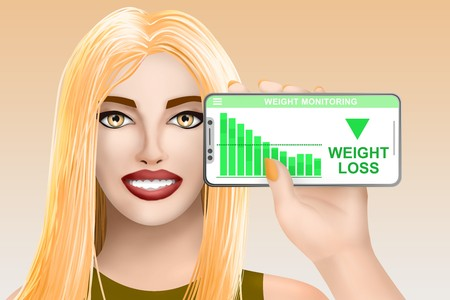Concept weight loss. Smiling beautiful drawn girl on bright background. Digital illustration