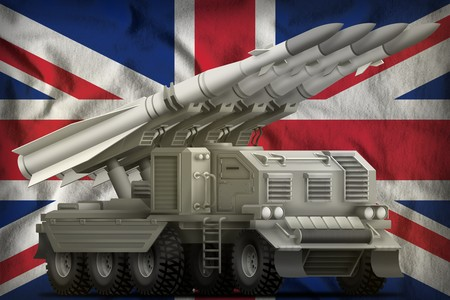 tactical short range ballistic missile on the United Kingdom (UK) flag background. 3d Illustration Stock Photo