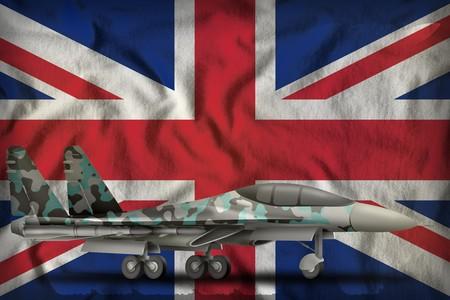 fighter, interceptor with winter camouflage on the United Kingdom (UK) flag background. 3d Illustration