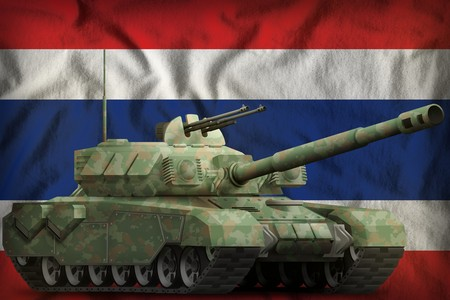 heavy tank with forest camouflage on the Thailand flag background. 3d Illustration