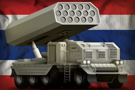 rocket artillery, missile launcher on the Thailand flag background. 3d Illustration 写真素材
