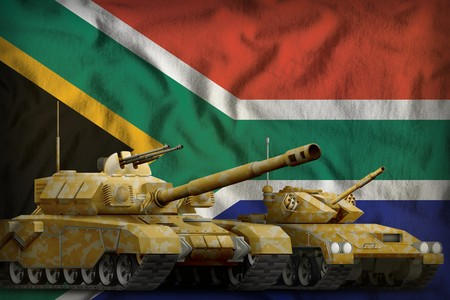tanks with orange camouflage on the South Africa flag background. South Africa tank forces concept. 3d Illustration