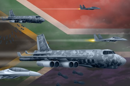 South Africa bomb air strike concept. Modern South Africa war airplanes bombing on flag background. 3d Illustration
