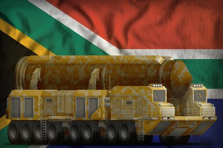 intercontinental ballistic missile with desert camouflage on the South Africa flag background. 3d Illustration