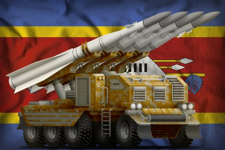 tactical short range ballistic missile with sand camouflage on the Swaziland flag background. 3d Illustration