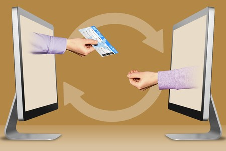 online concept, hands from displays. air ticket and pleading gesture . 3d illustration
