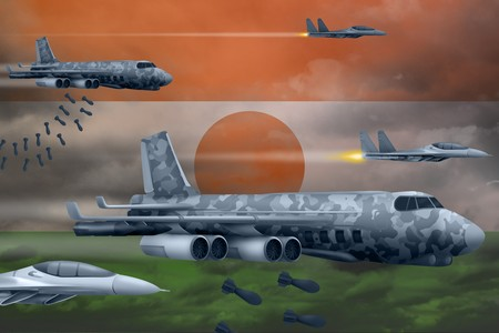 Niger bomb air strike concept. Modern Niger war airplanes bombing on flag background. 3d Illustration Stockfoto