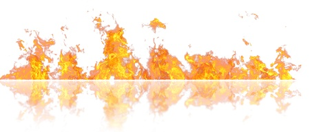 Real fire line flames with reflection isolated on white background. Mockup fire wall.