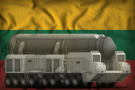 intercontinental ballistic missile on the Lithuania flag background. 3d Illustration Stock Photo
