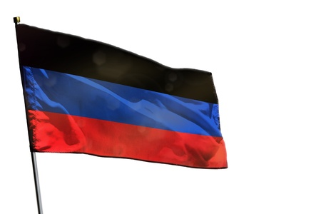 Fluttering Donetsk Peoples Republic flag isolated on white background.