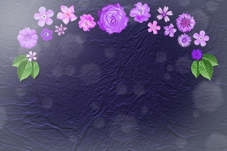 Beautiful flower design frame with empty in center on blue rough stucco background.