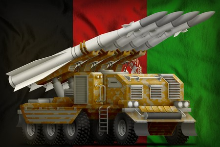 tactical short range ballistic missile with sand camouflage on the Afghanistan flag background. 3d Illustration
