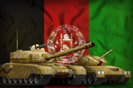 tanks with orange camouflage on the Afghanistan flag background. Afghanistan tank forces concept. 3d Illustration