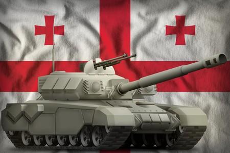 heavy tank on the Georgia flag background. 3d Illustration