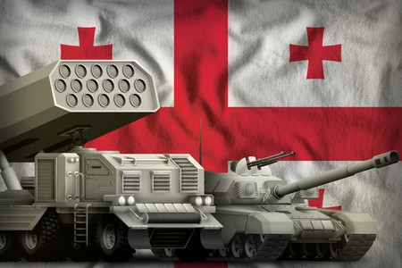 tank and missile launcher on the Georgia flag background. Georgia heavy military armored vehicles concept. 3d Illustration