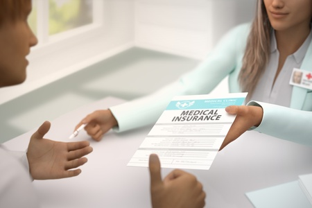 nice woman medical doctor in her office gives patient Medical insurance and patient  gladly accepts it, he likes it and shows thumb up gesture - medical illustration with selective focus, 3D illustration