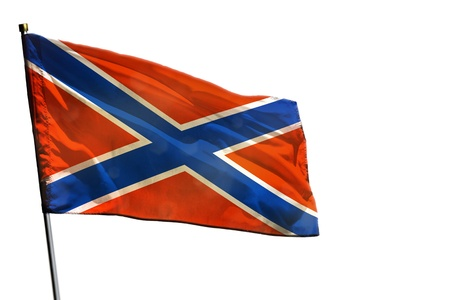 Fluttering Novorossiya flag isolated on white background. Stock Photo