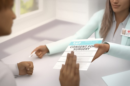 pretty female medical doctor gives patient consent for surgery and patient  do not accept it - declines it and refuses to take it - medical illustration with selective focus, 3D illustration