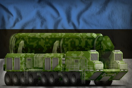 intercontinental ballistic missile with green pixel camouflage on the Estonia flag background. 3d Illustration