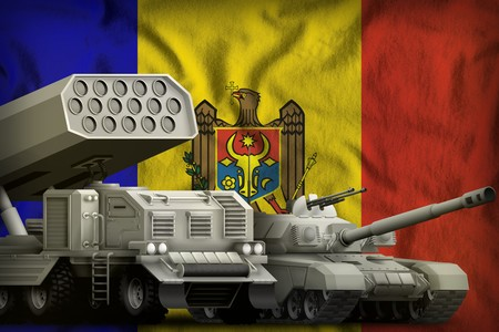 tank and rocket launcher on the Moldova flag background. Moldova heavy military armored vehicles concept. 3d Illustration