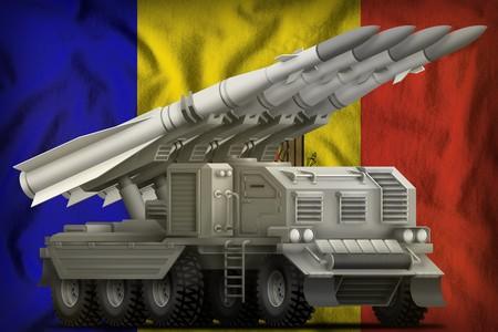 tactical short range ballistic missile on the Moldova flag background. 3d Illustration