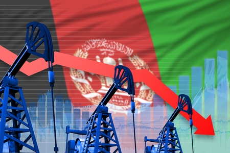 Afghanistan oil industry concept, industrial illustration - lowering, falling graph on Afghanistan flag background. 3D Illustration