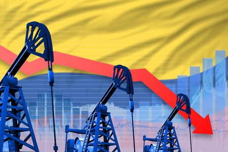 Colombia oil industry concept, industrial illustration - lowering, falling graph on Colombia flag background. 3D Illustration Stock Photo