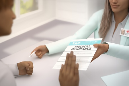 wonderful female medical doctor gives patient Medical insurance and patient  do not accept it - declines it and refuses to take it - medical illustration with selective focus, 3D illustration