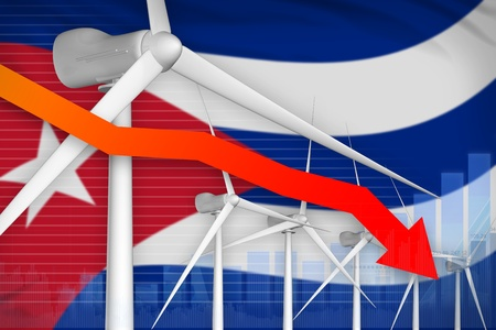 Cuba wind energy power lowering chart, arrow down  - environmental energy industrial illustration. 3D Illustration