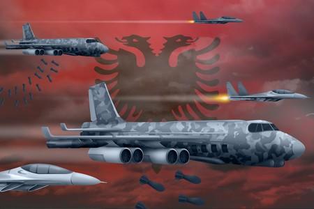 Albania bomb air strike concept. Modern Albania war airplanes bombing on flag background. 3d Illustration Фото со стока