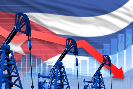 Cuba oil industry concept, industrial illustration - lowering, falling graph on Cuba flag background. 3D Illustration