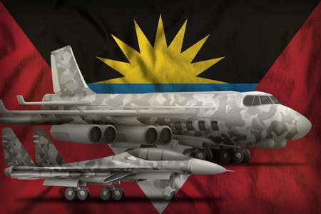 air forces with grey camouflage on the Antigua and Barbuda flag background. Antigua and Barbuda air forces concept. 3d Illustration