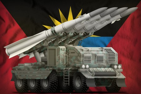 tactical short range ballistic missile with arctic camouflage on the Antigua and Barbuda flag background. 3d Illustration