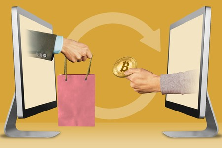 web concept, hands from computers. hand with shopping bag and hand with bitcoin . 3d illustration