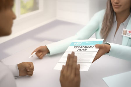 nice female medical doctor gives patient treatment plan and patient  do not accept it - declines it and refuses to take it - medical illustration with selective focus, 3D illustration Stok Fotoğraf