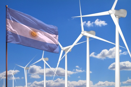 Argentina alternative energy, wind energy industrial concept with windmills and flag - alternative renewable energy industrial illustration, 3D illustration