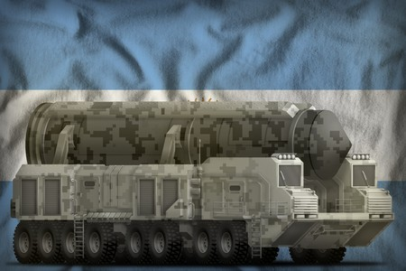 intercontinental ballistic missile with city camouflage on the Argentina flag background. 3d Illustration Imagens - 111427507