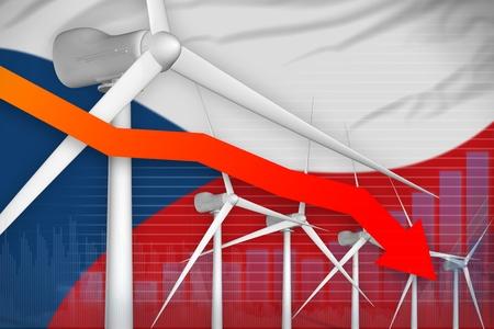 Czechia wind energy power lowering chart, arrow down  - renewable energy industrial illustration. 3D Illustration Stok Fotoğraf