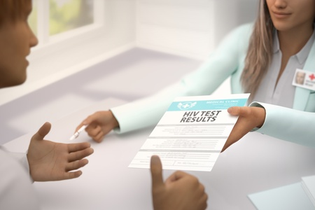 wonderful woman medical doctor in her room gives patient HIV test results and patient  gladly accepts it, he likes it and shows thumb up gesture - medical illustration with selective focus, 3D illustration