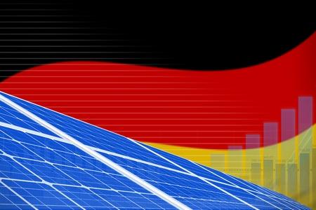 Germany solar energy power digital graph concept  - environmental energy industrial illustration. 3D Illustration Stock Photo
