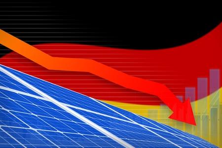 Germany solar energy power lowering chart, arrow down  - alternative energy industrial illustration. 3D Illustration Reklamní fotografie