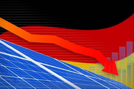 Germany solar energy power lowering chart, arrow down  - alternative energy industrial illustration. 3D Illustration Stock Photo